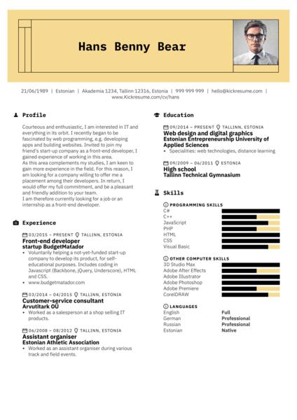 Front-end Developer Resume Sample