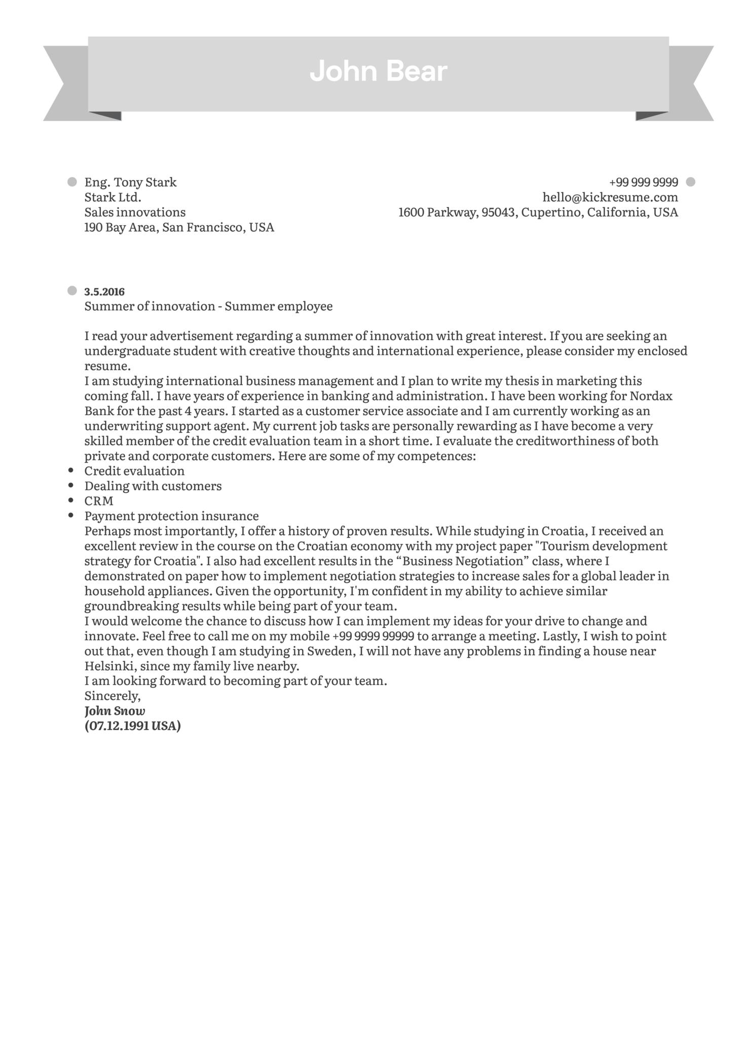 Student Summer Job Cover Letter Sample