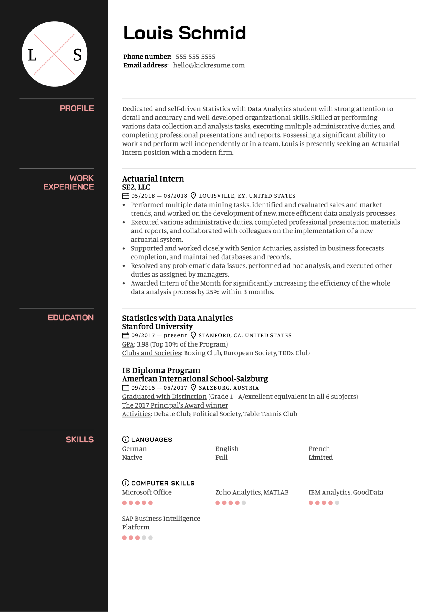 Actuarial Intern Resume Sample (Teil 1)