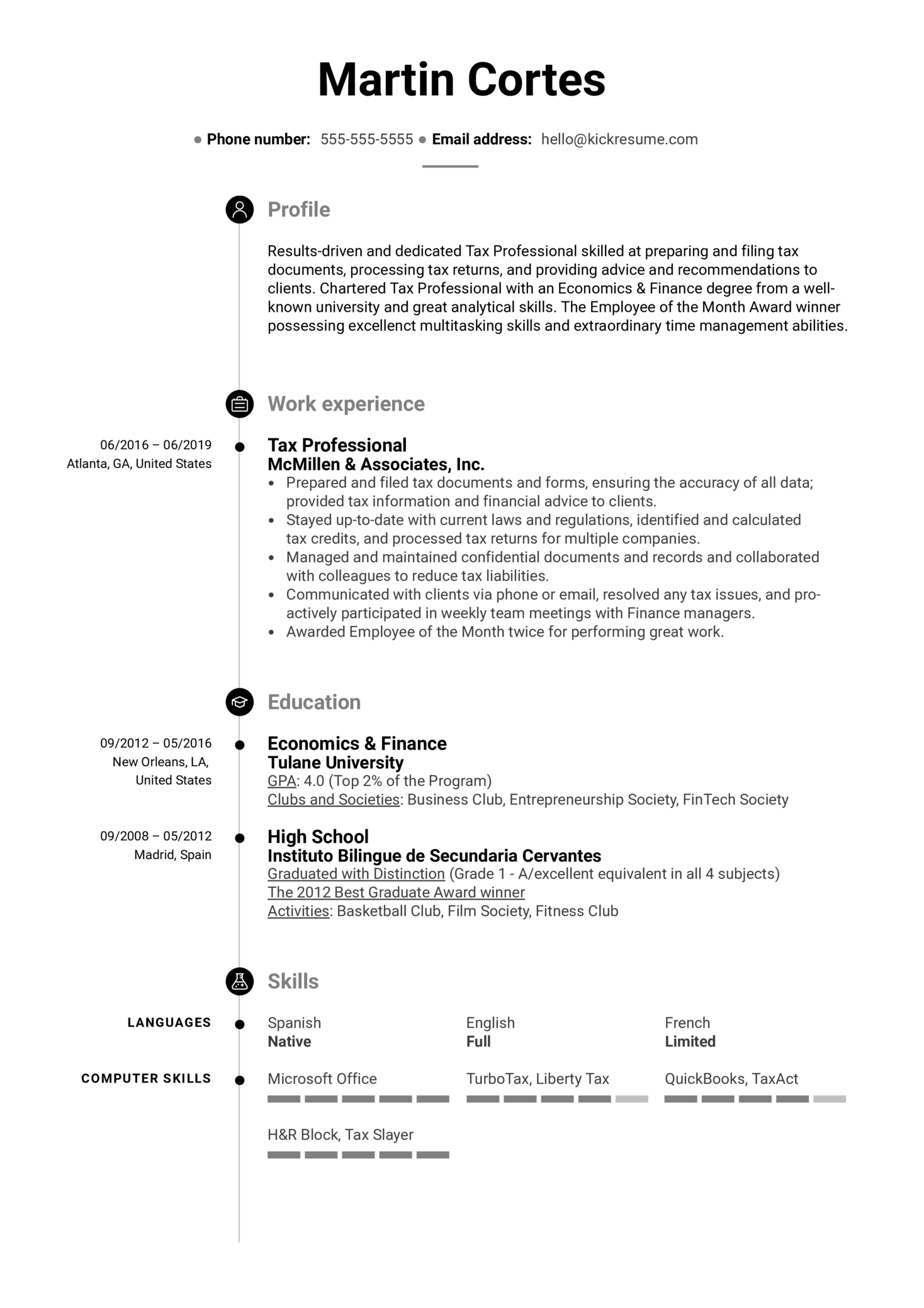 Tax Professional Resume Example (Teil 1)