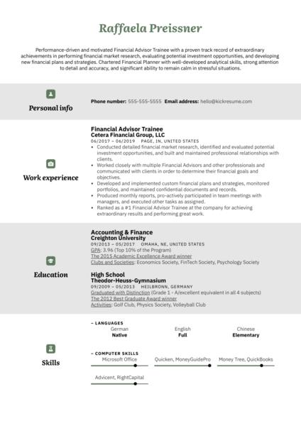 Financial Advisor Trainee Resume Example
