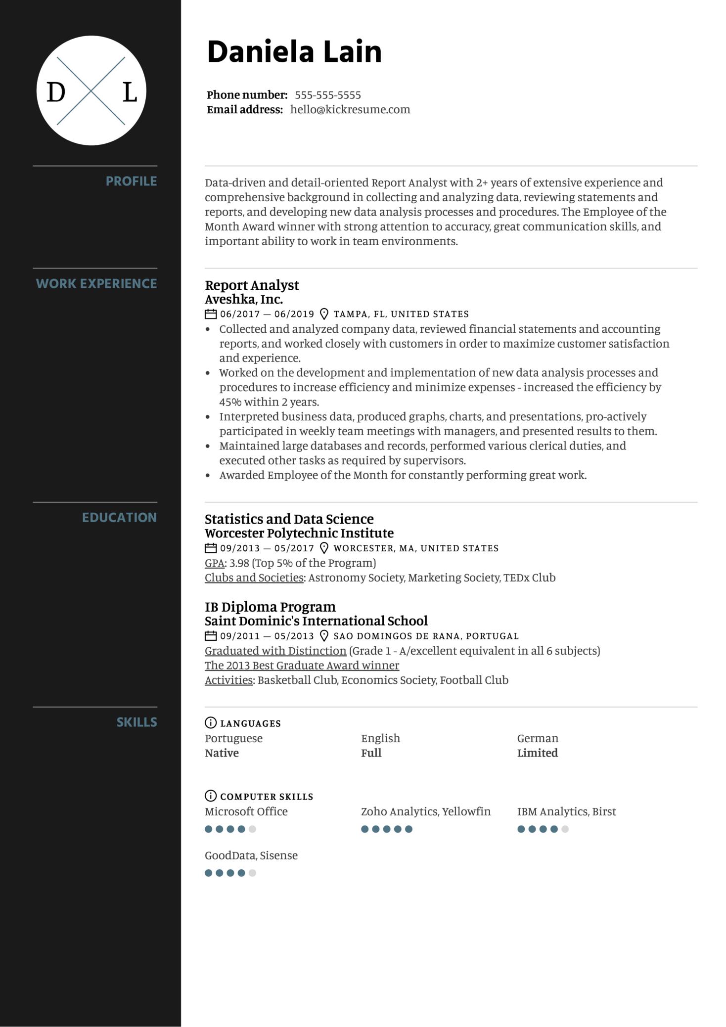 Report Analyst Resume Sample (Part 1)