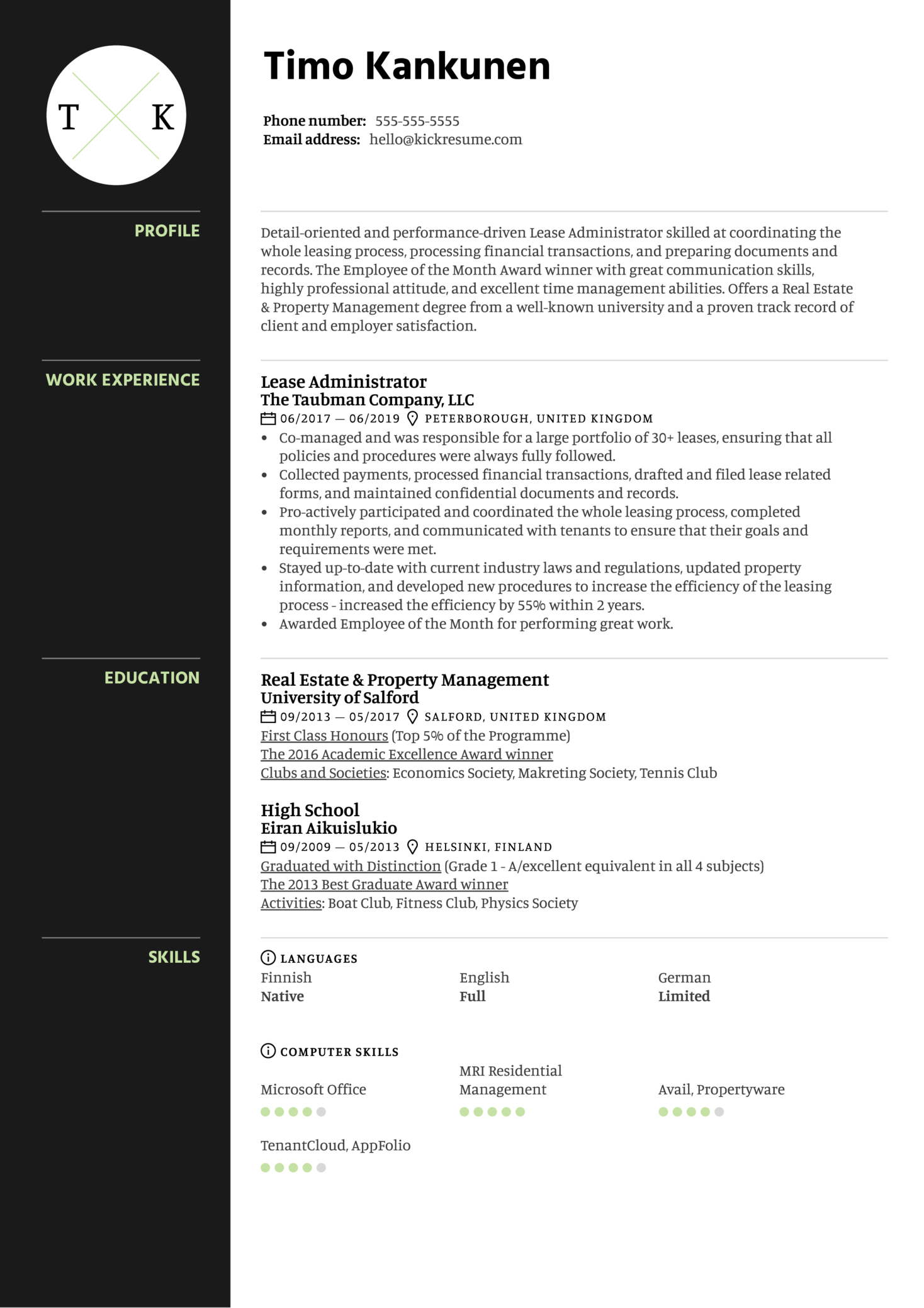 Lease Administrator Resume Example (parte 1)