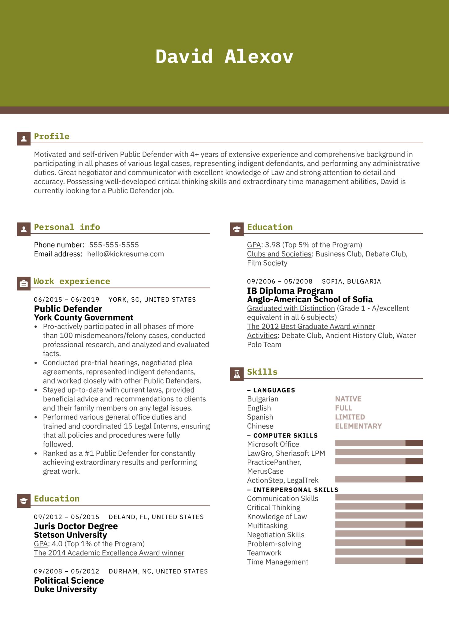 Public Defender Resume Example (Teil 1)