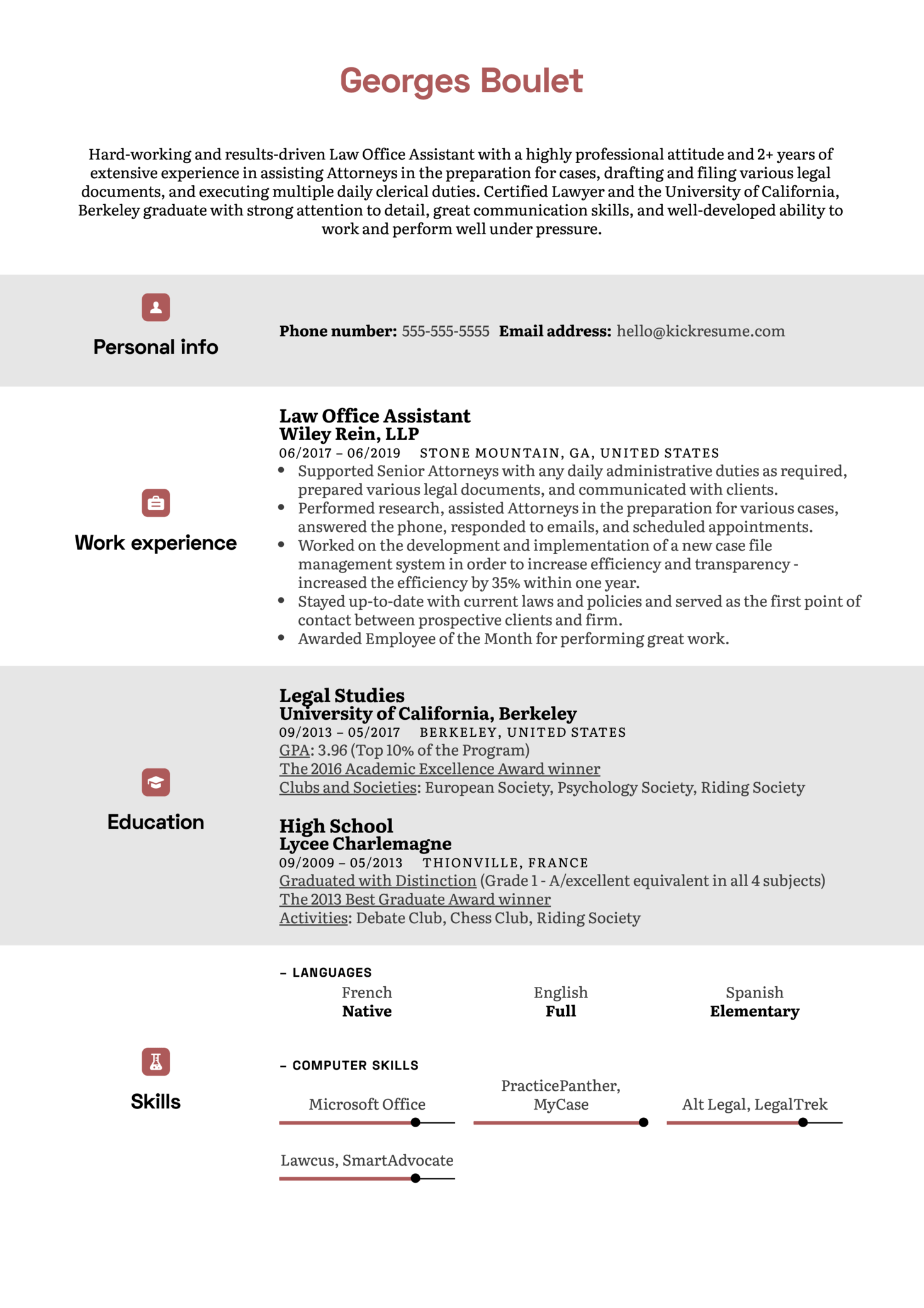 Law Office Assistant Resume Sample (Parte 1)