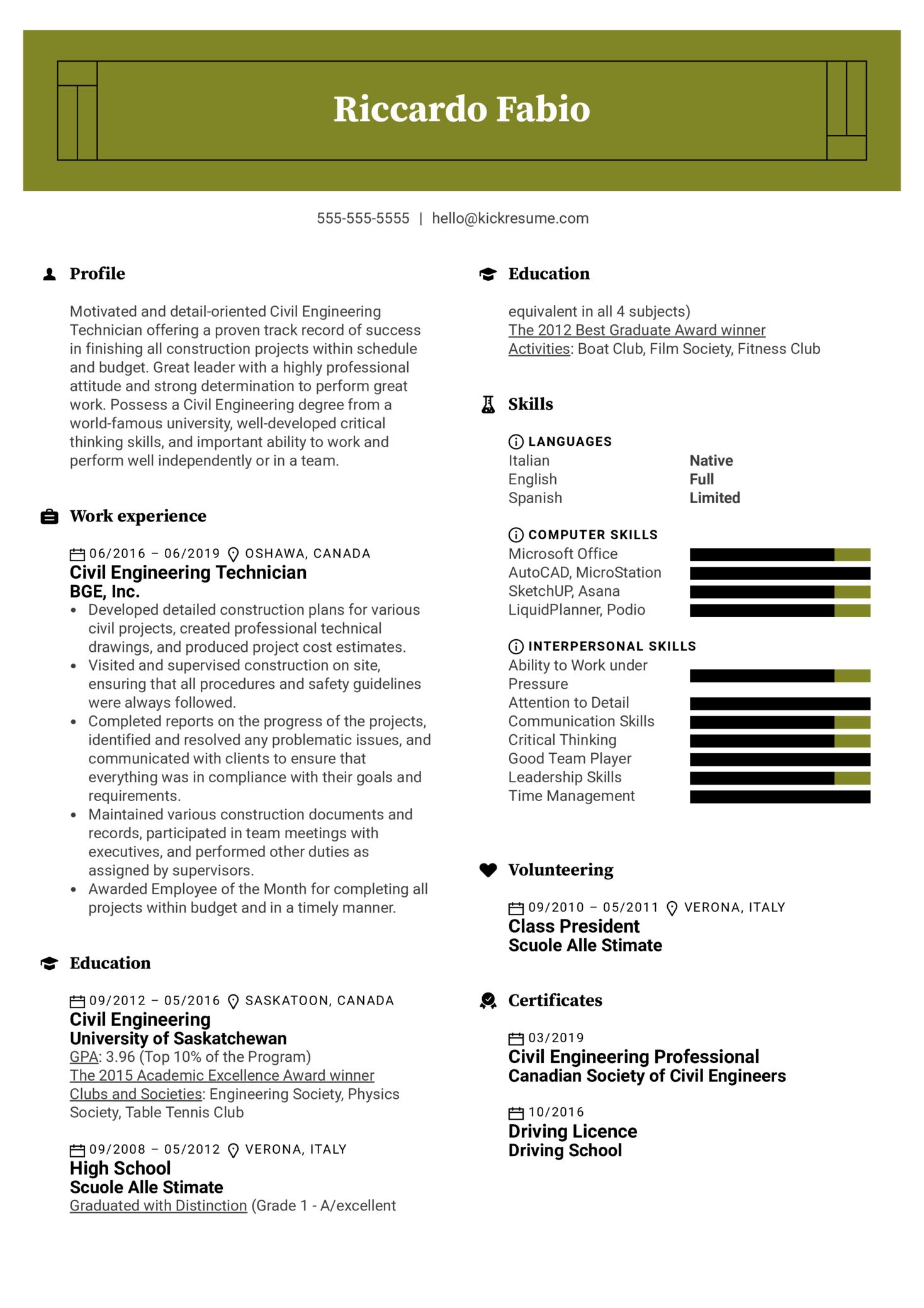 Civil Engineering Technician Resume Sample (Part 1)