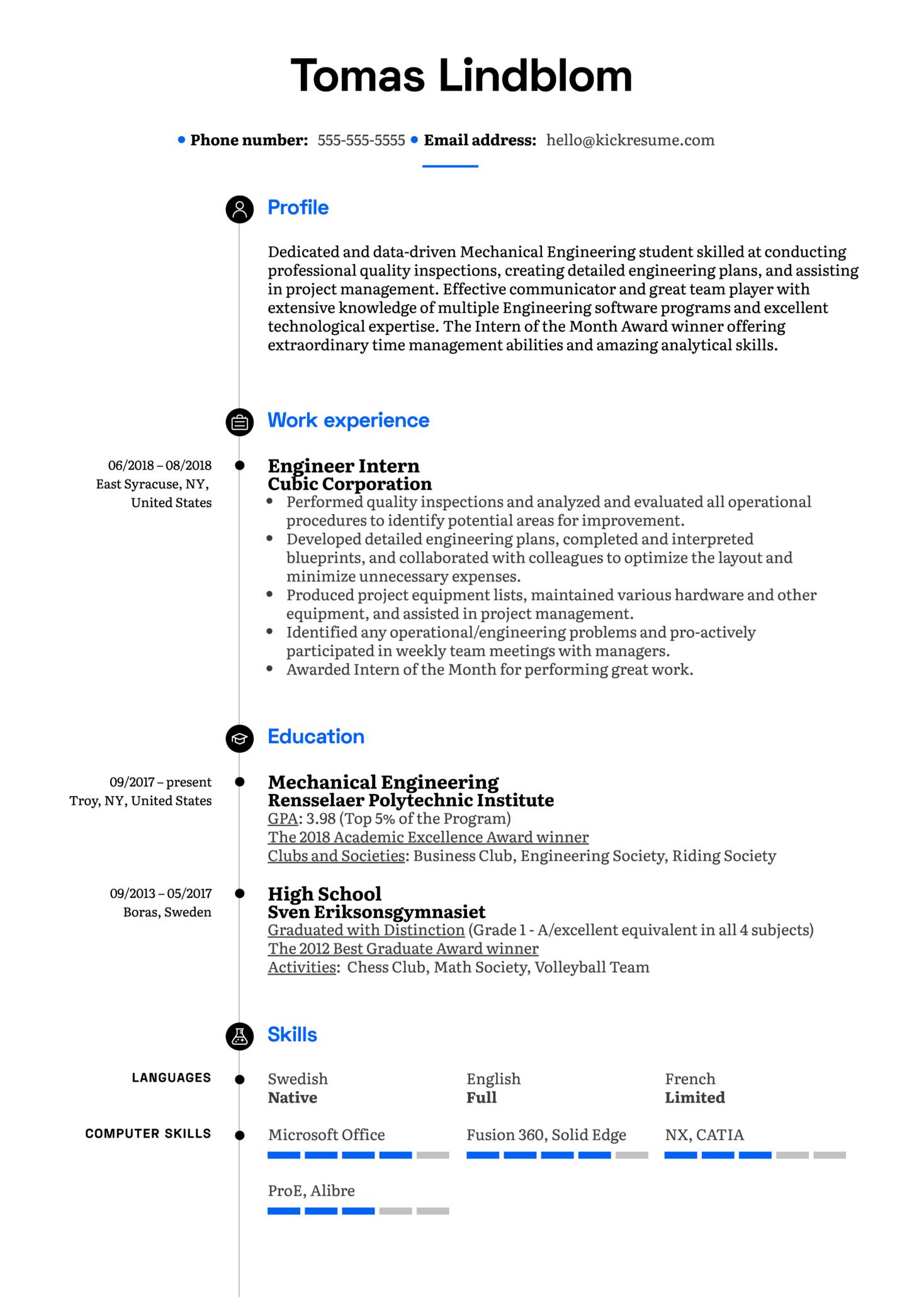 Engineer Intern Resume Example (Part 1)