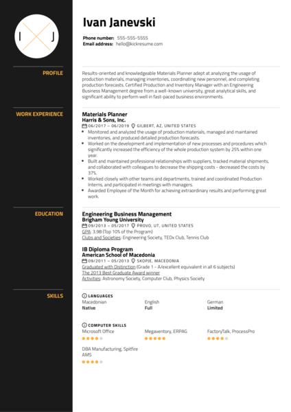 Materials Planner Resume Sample