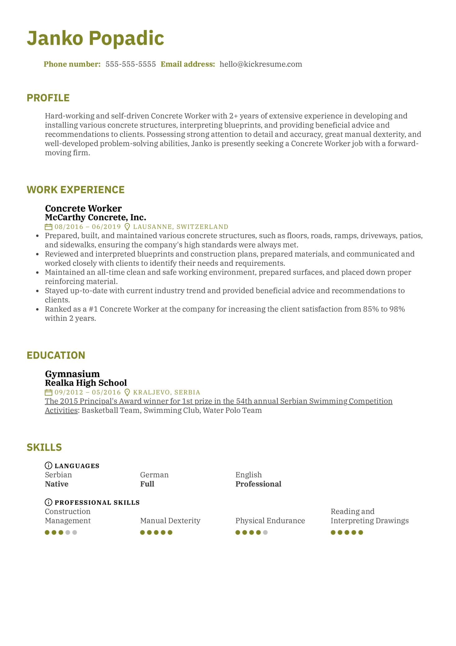 Concrete Worker Resume Sample (parte 1)