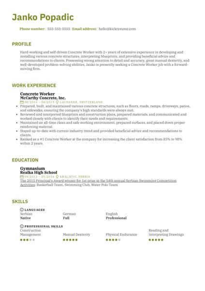 Concrete Worker Resume Sample