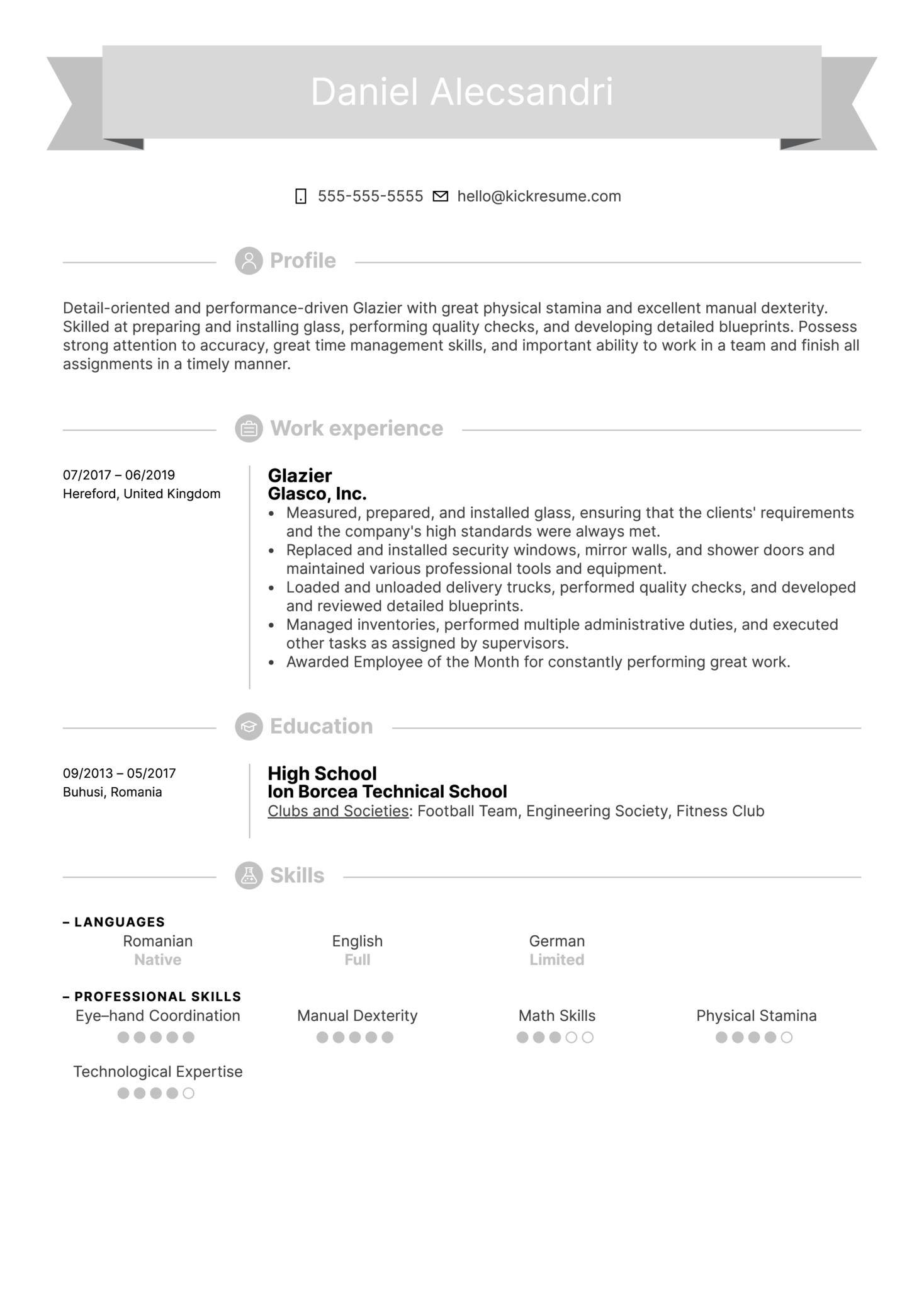 Glazier Resume Example (Part 1)