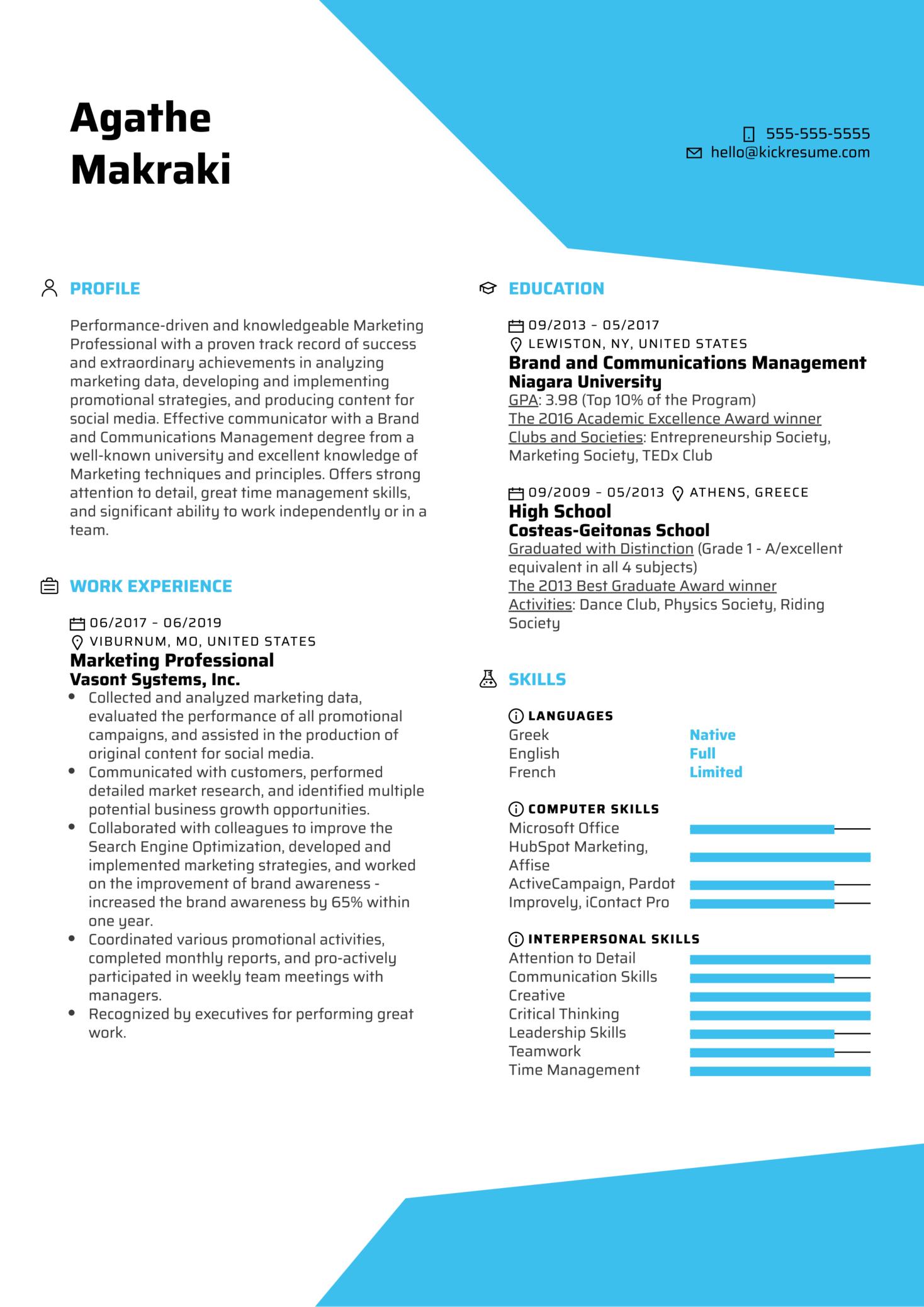 Marketing Professional Resume Example (Part 1)