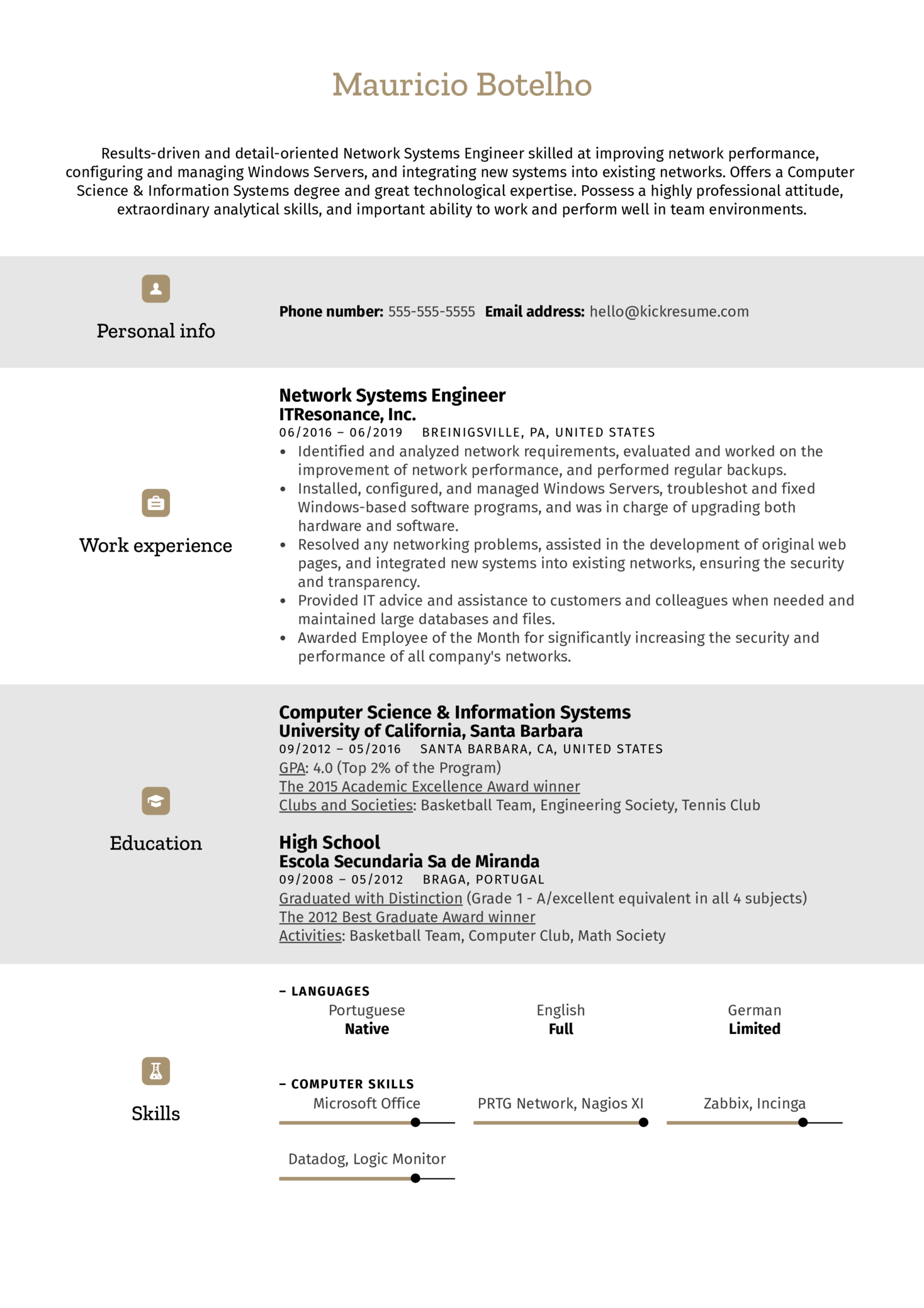 Network Systems Engineer Resume Example (časť 1)