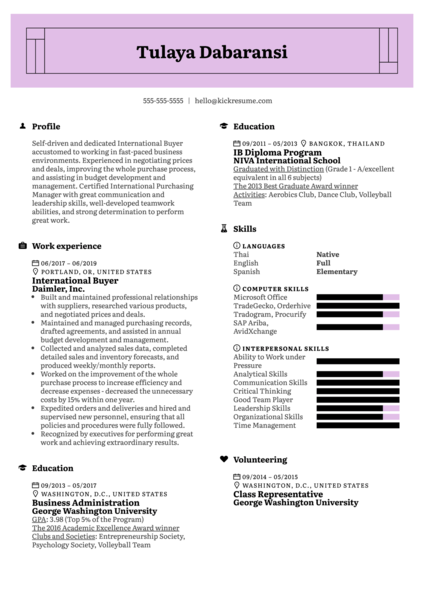 International Buyer Resume Example