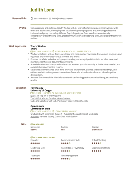 Youth Worker Resume Example