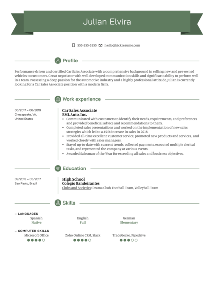 Car Sales Associate Resume Sample