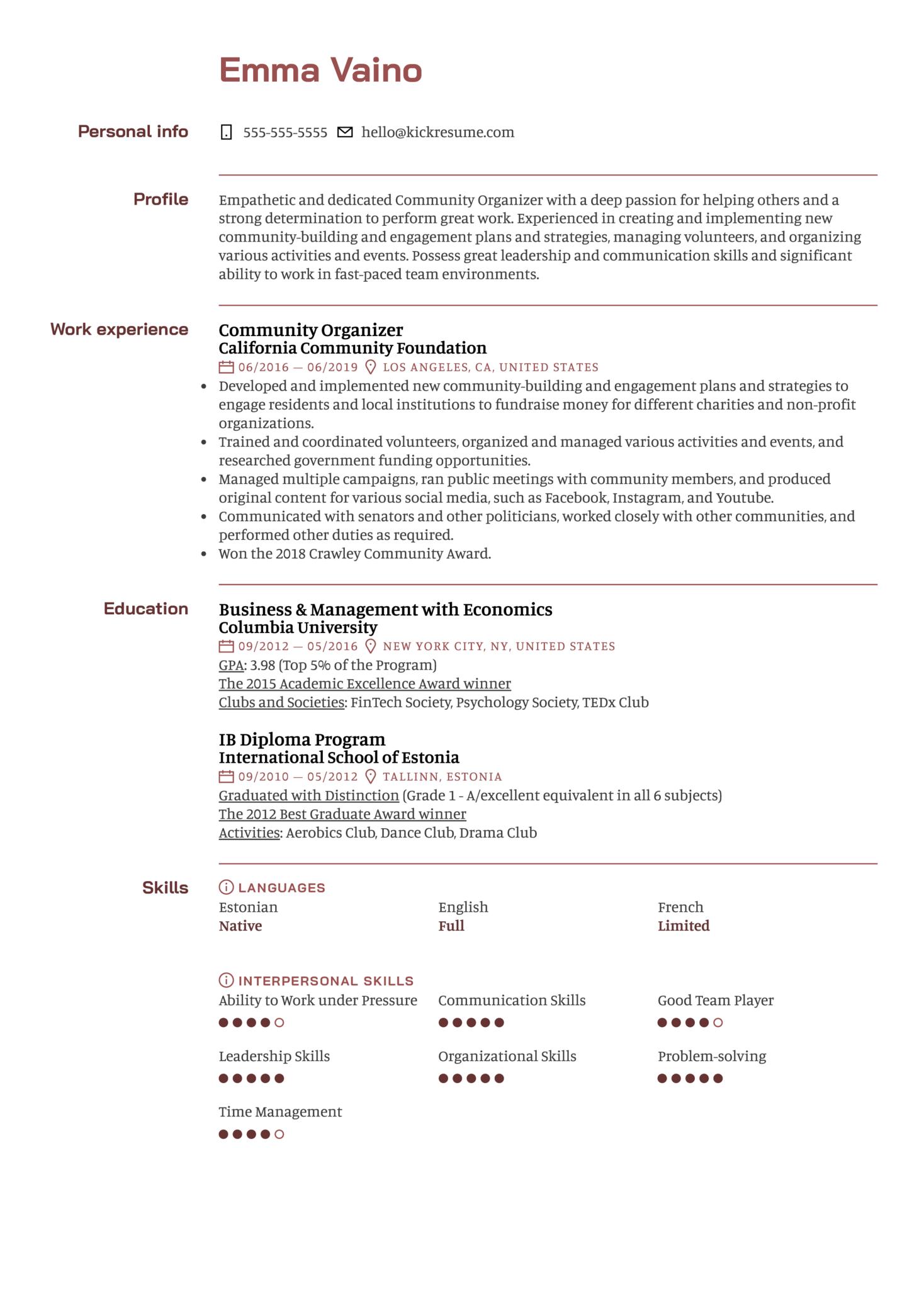Community Organizer Resume Sample (Part 1)