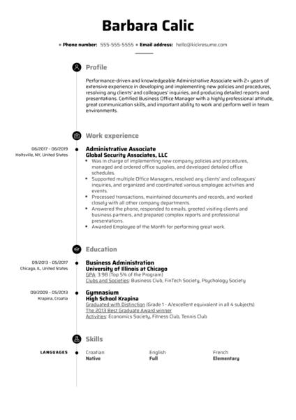 Administrative Associate Resume Sample