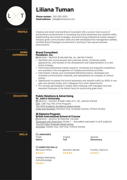 Brand Consultant Resume Example