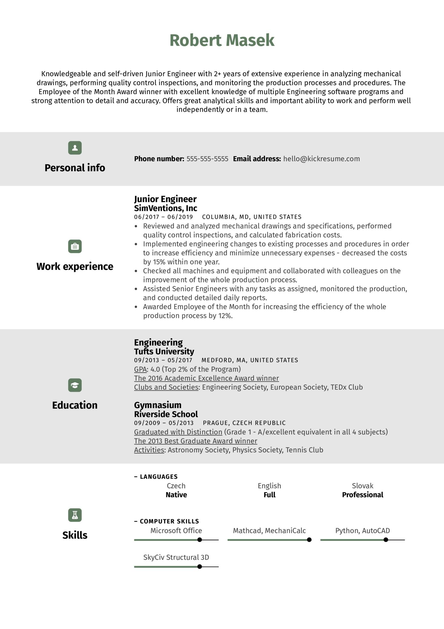 Junior Engineer Resume Sample (Teil 1)