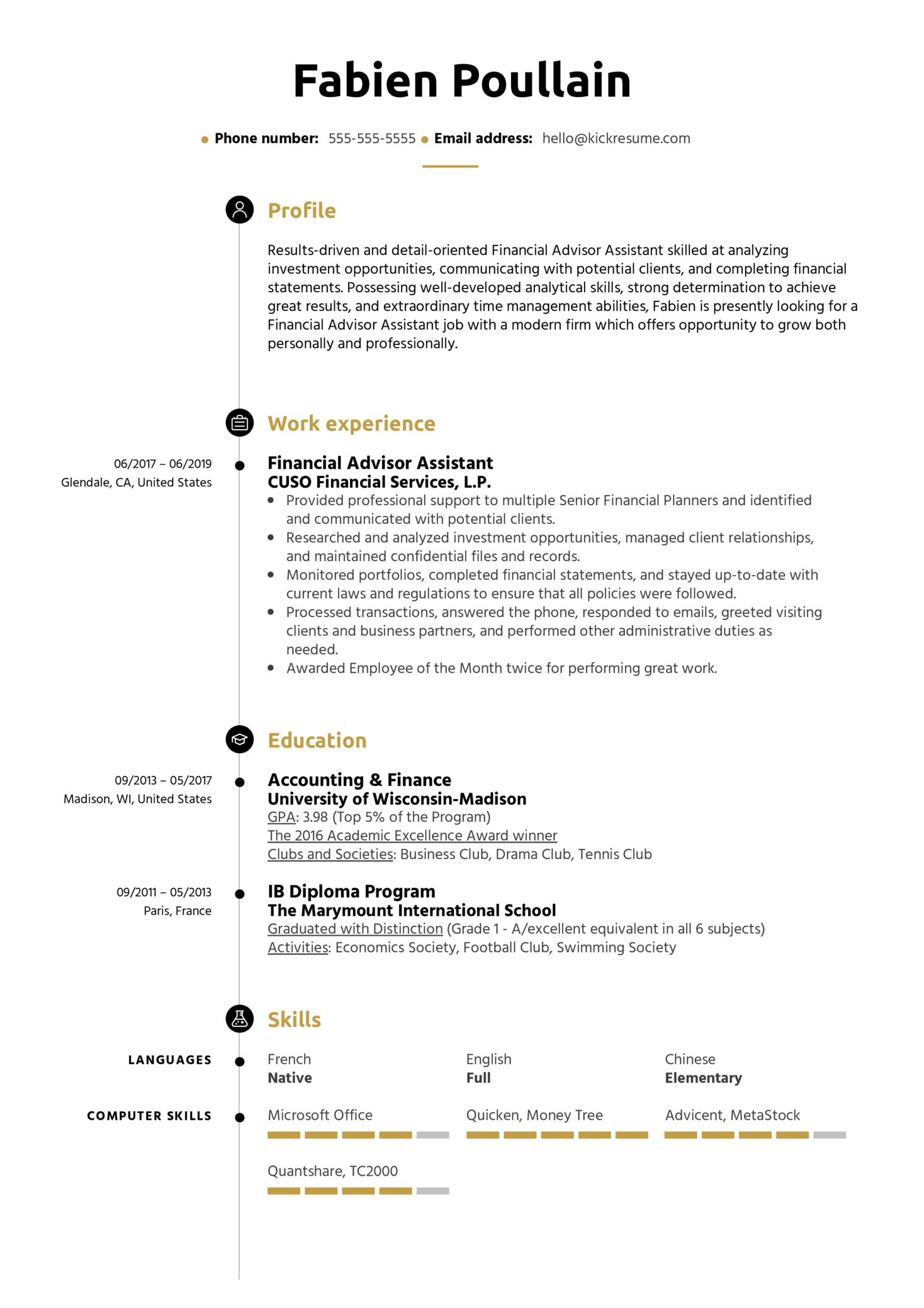 Financial Advisor Assistant Resume Sample (Teil 1)