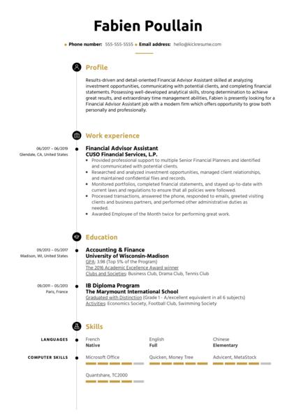 Financial Advisor Assistant Resume Sample