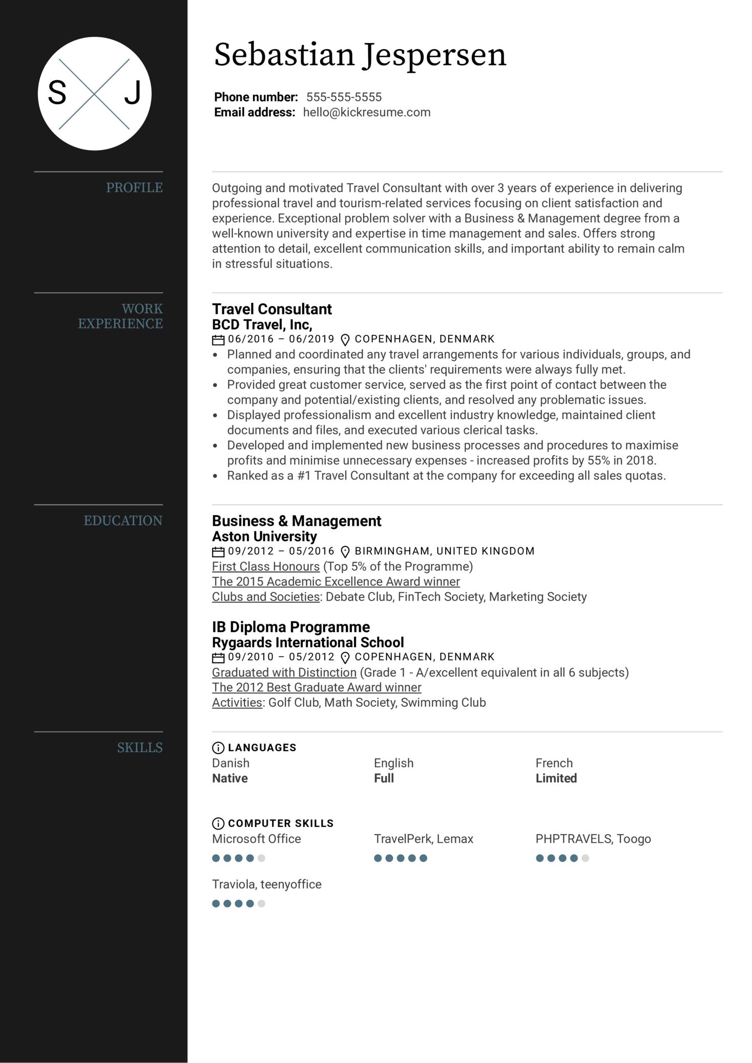 Travel Consultant Resume Sample (časť 1)