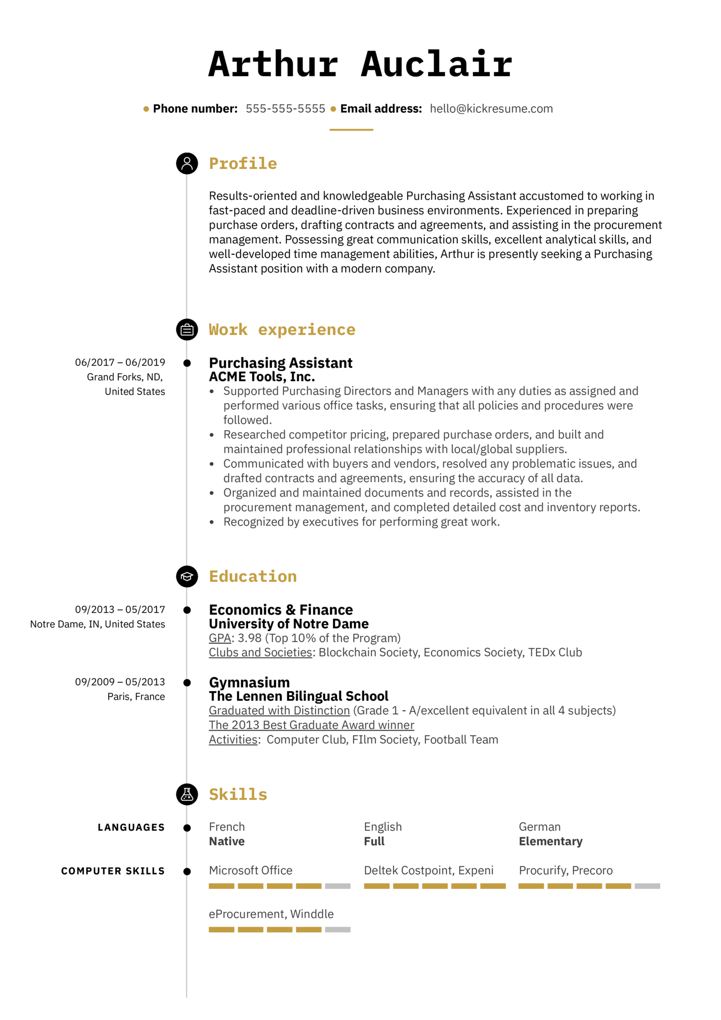 Purchasing Assistant Resume Template (Part 1)