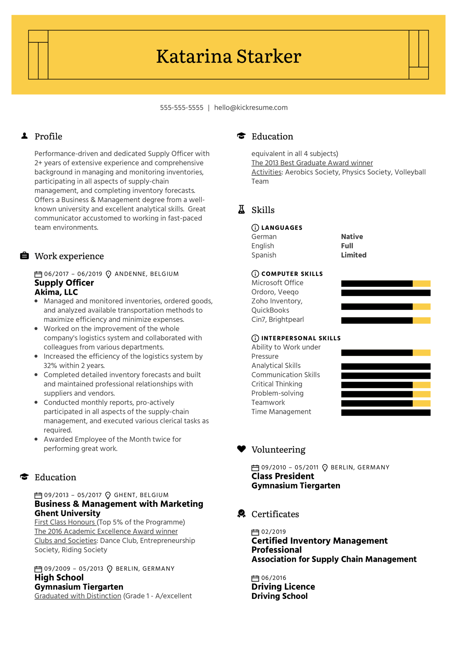 Supply Officer Resume Example (Part 1)