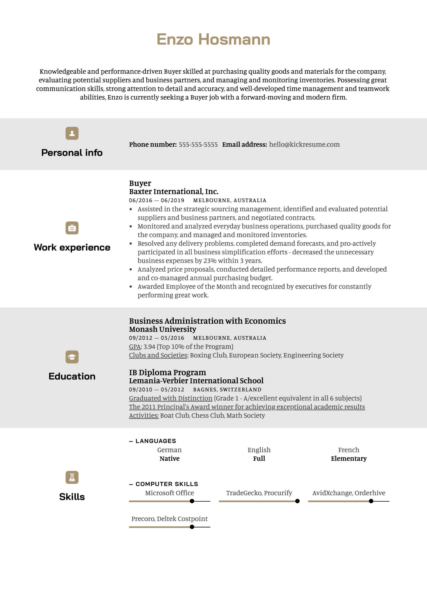 Buyer Resume Example (Part 1)