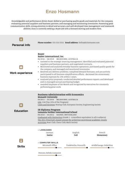 Buyer Resume Example