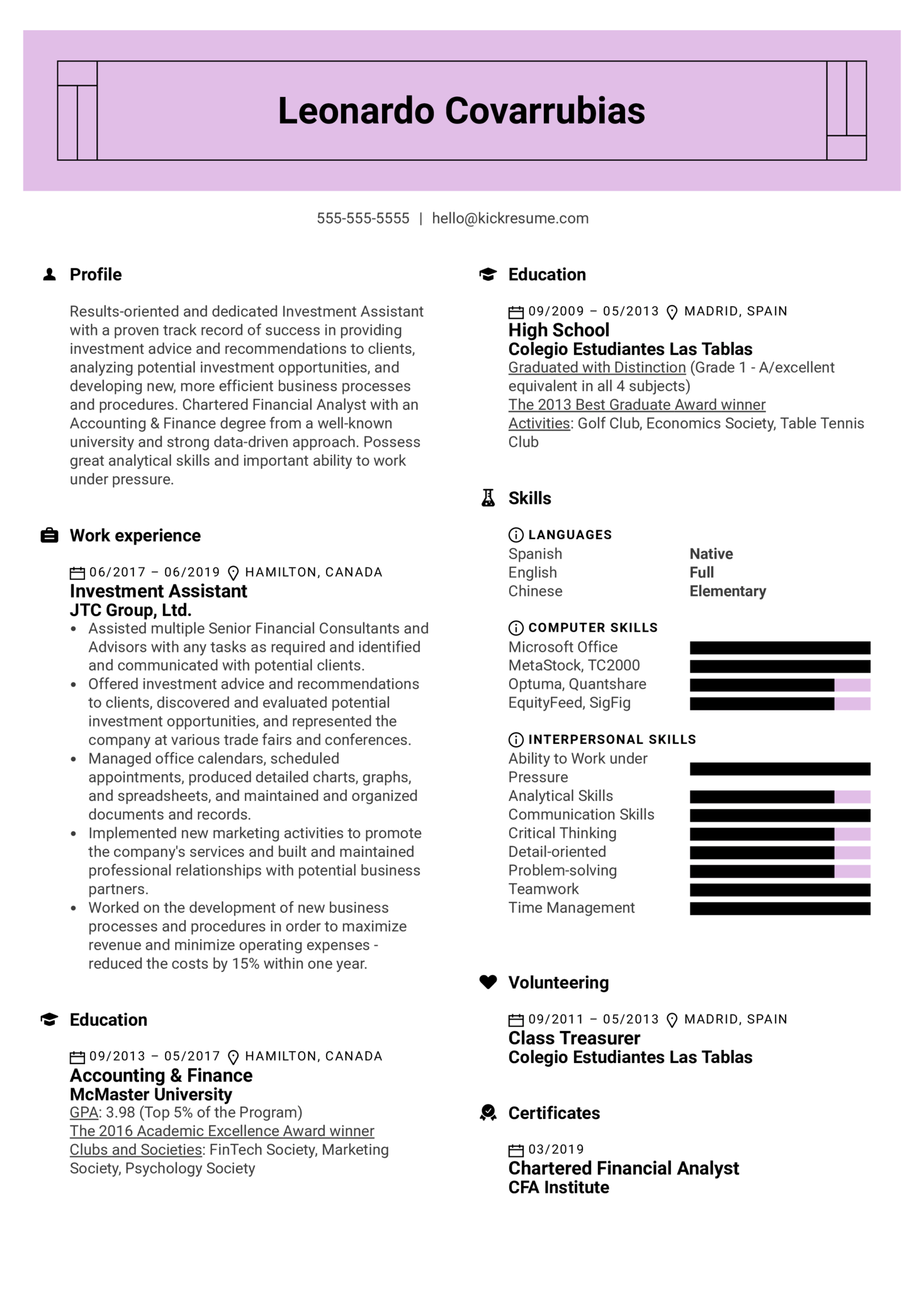 Investment Assistant Resume Sample (parte 1)