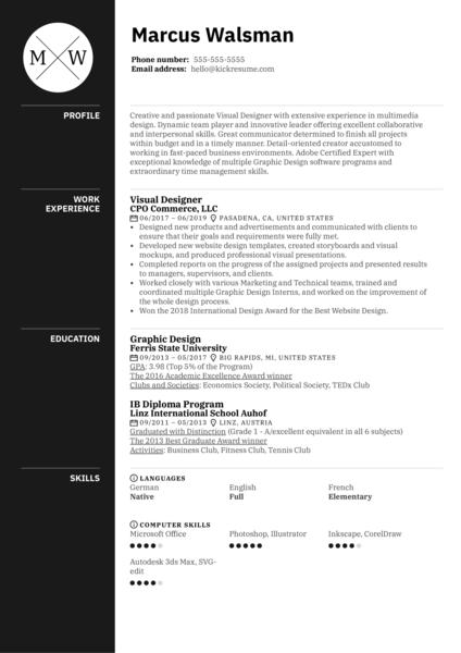 Visual Designer Resume Example
