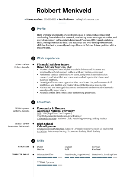 Financial Advisor Intern Resume Example