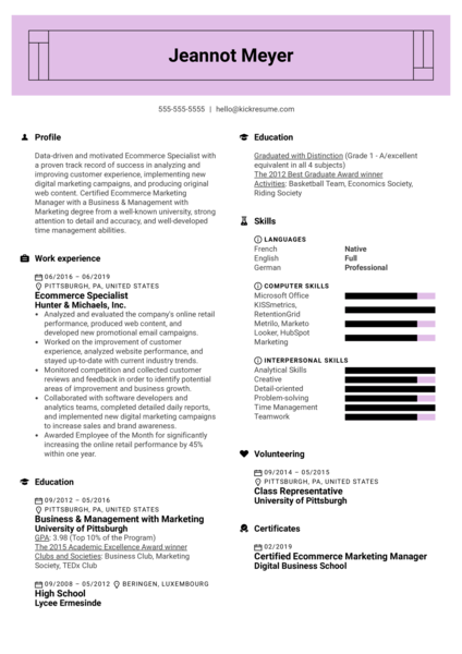Ecommerce Specialist Resume Sample