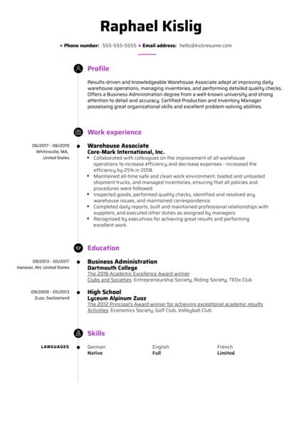 Warehouse Associate Resume Sample