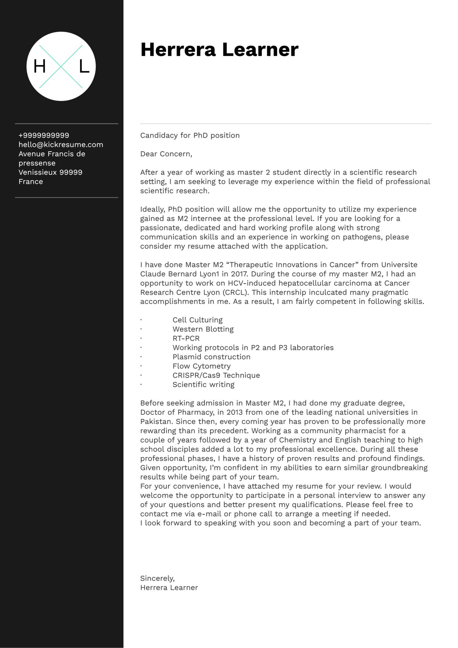 Lyon University PhD Student Cover Letter Sample