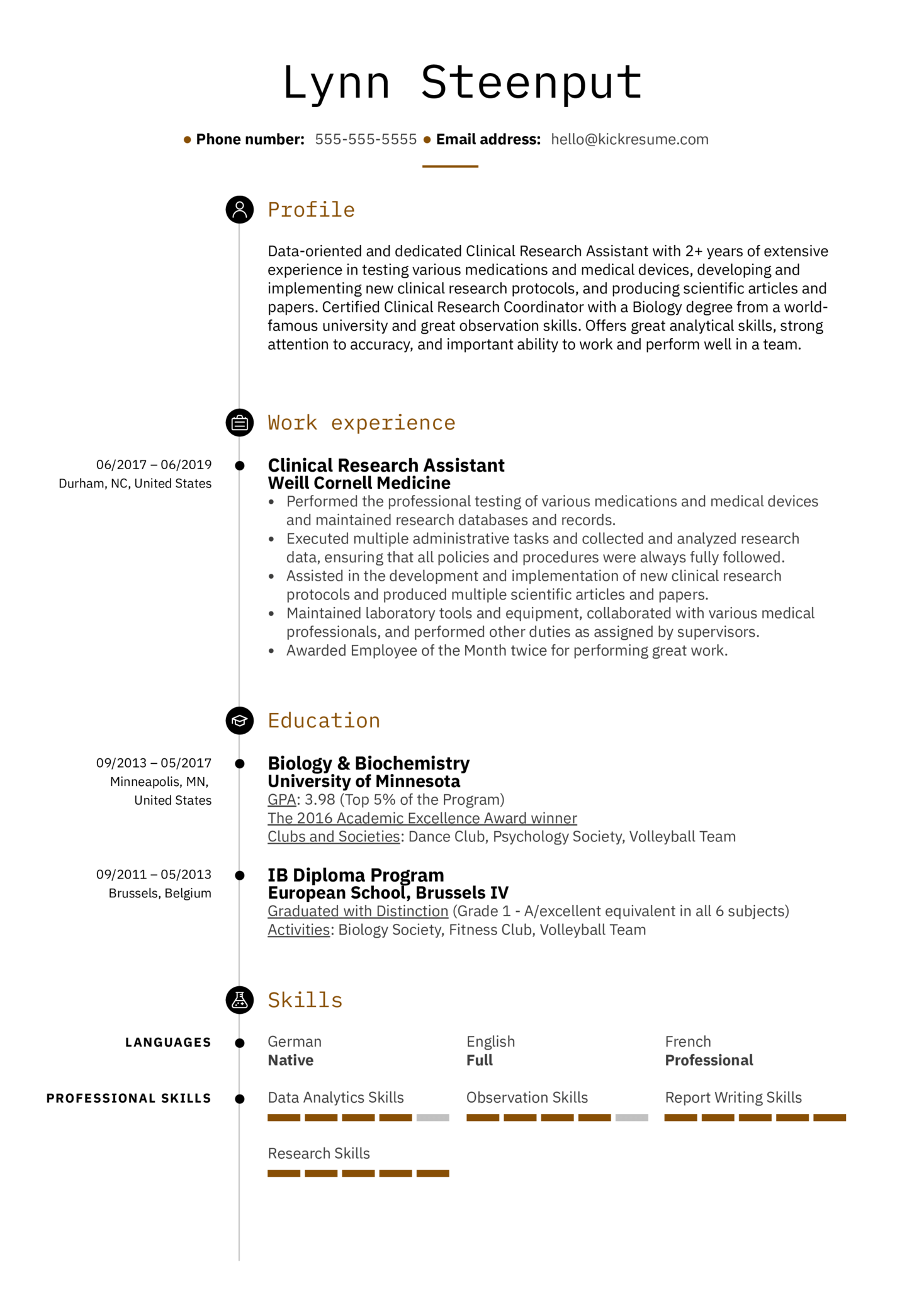 Clinical Research Assistant Resume Example (parte 1)