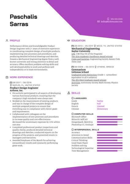 Product Design Engineer Resume Example