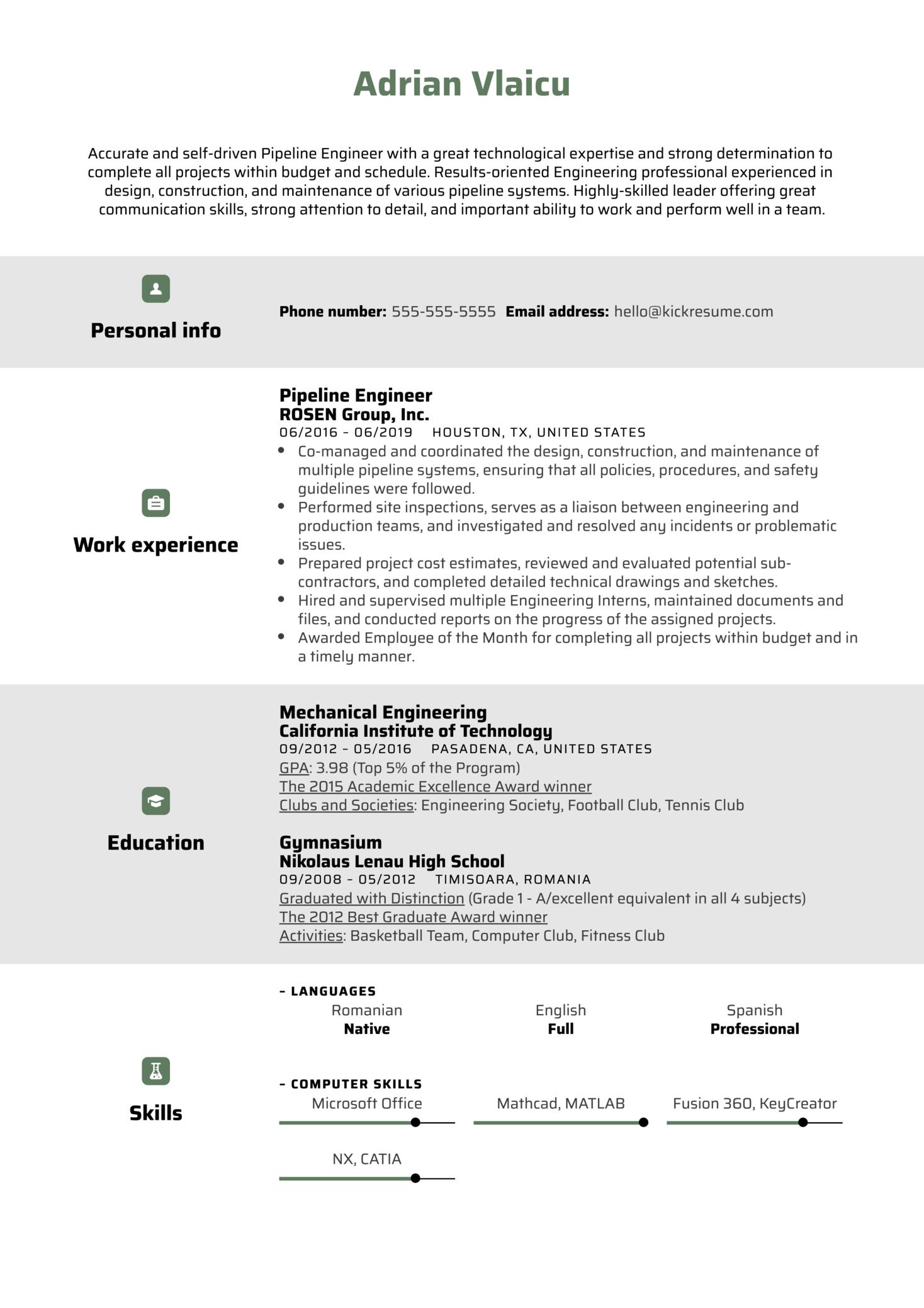 Pipeline Engineer Resume Sample (parte 1)
