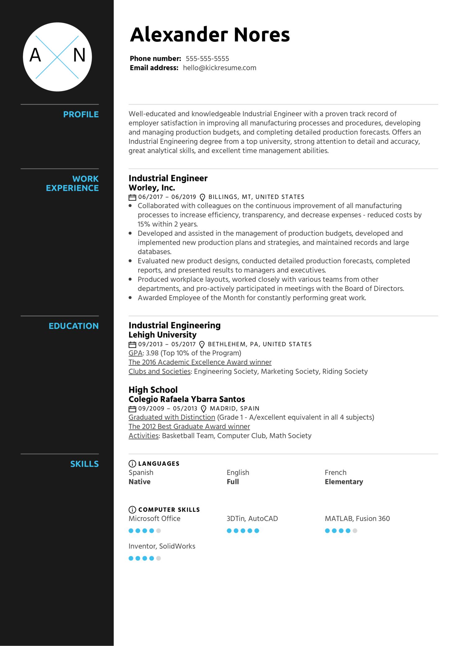 Industrial Engineer Resume Sample (časť 1)