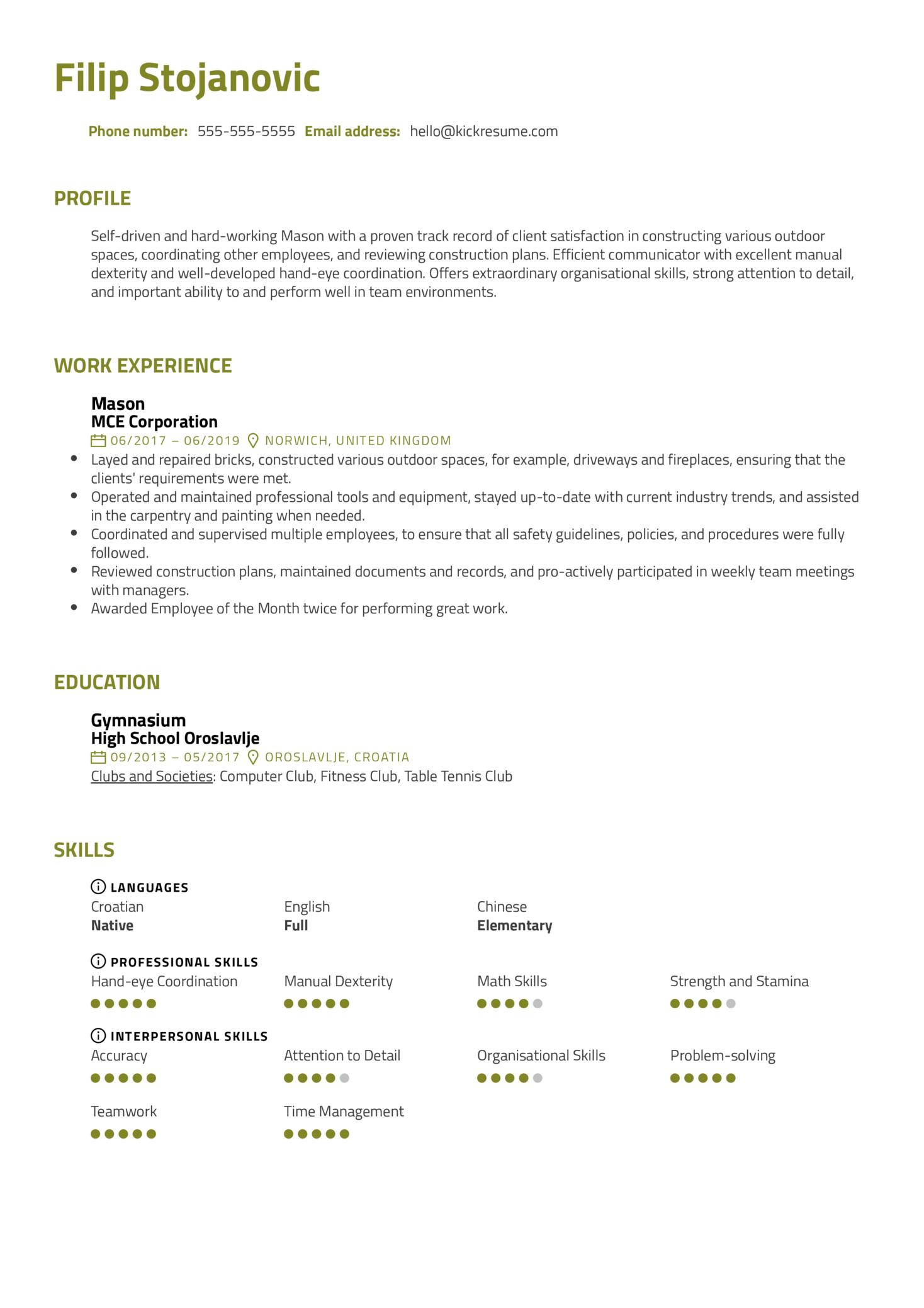Mason Resume Sample (Teil 1)