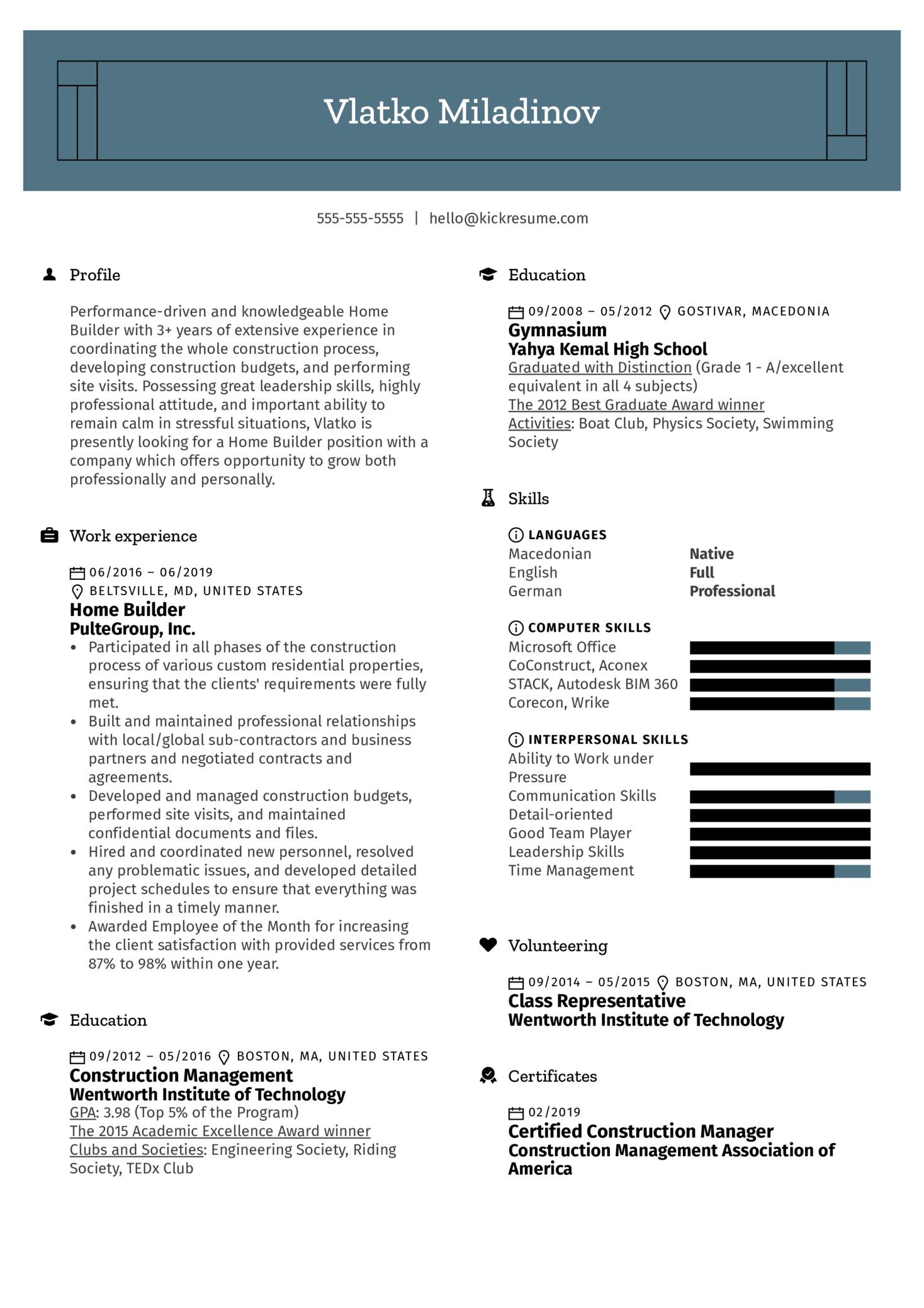 Home Builder Resume Example (Part 1)