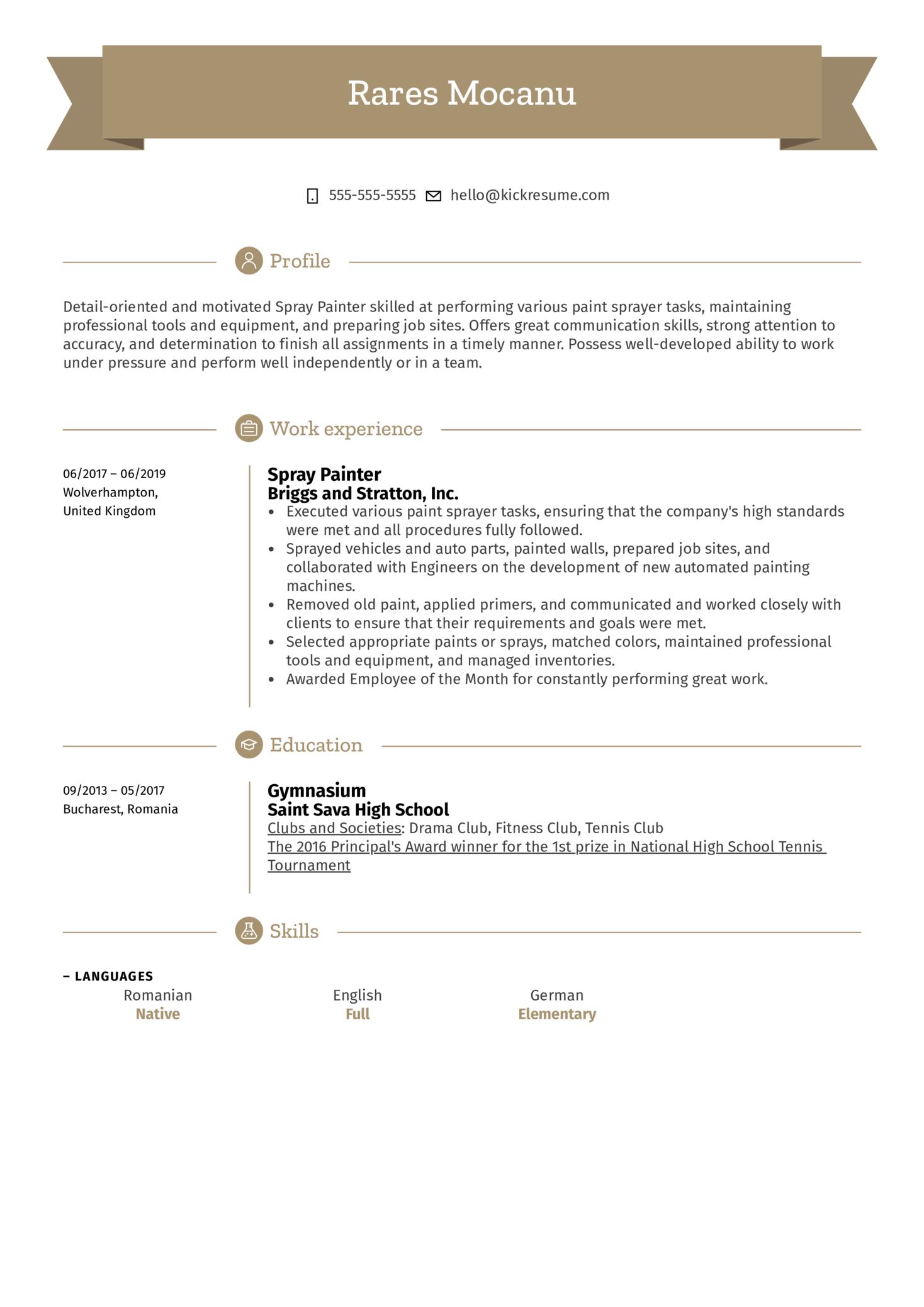 Spray Painter Resume Sample (Parte 1)