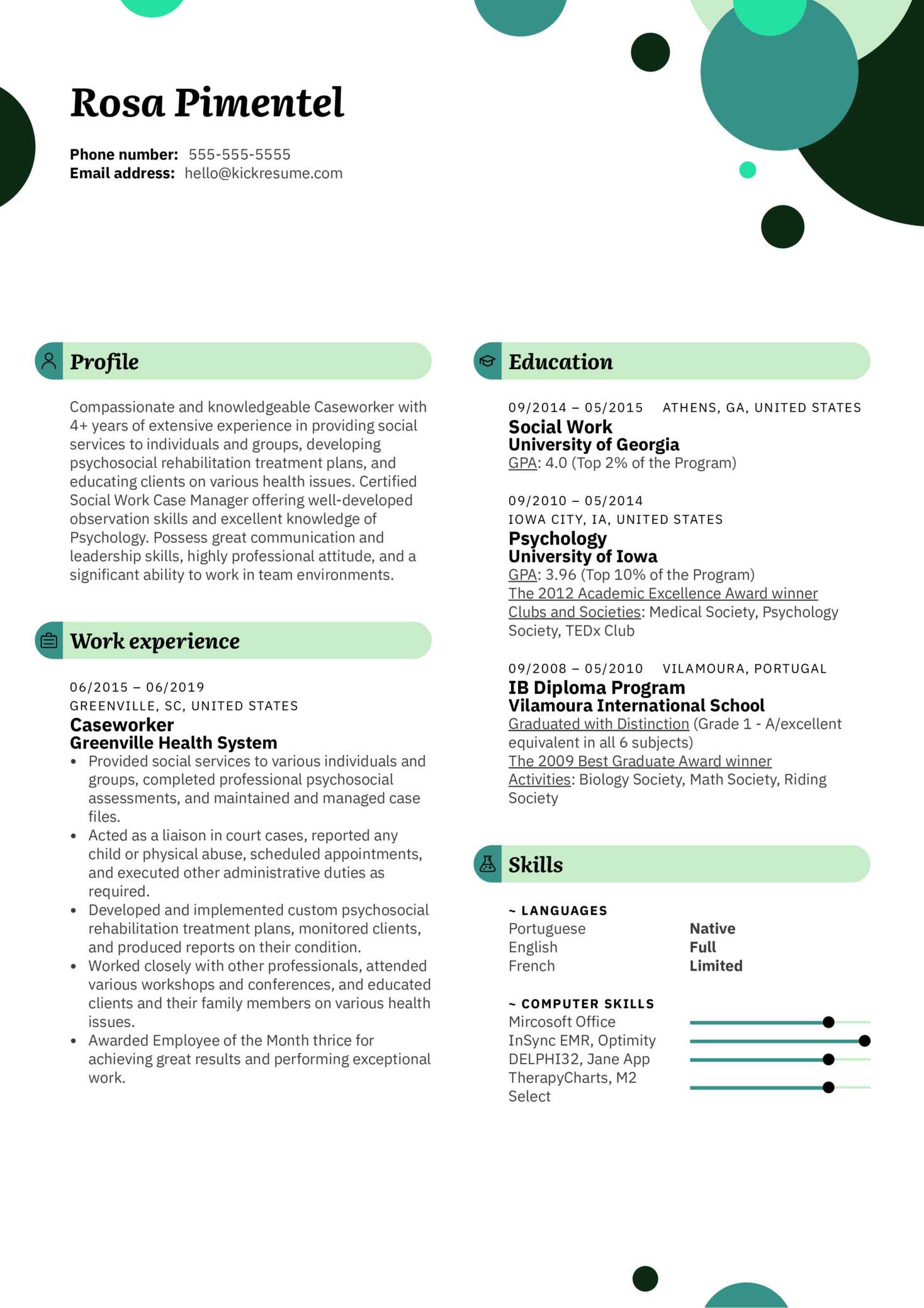 Caseworker Resume Example (Part 1)