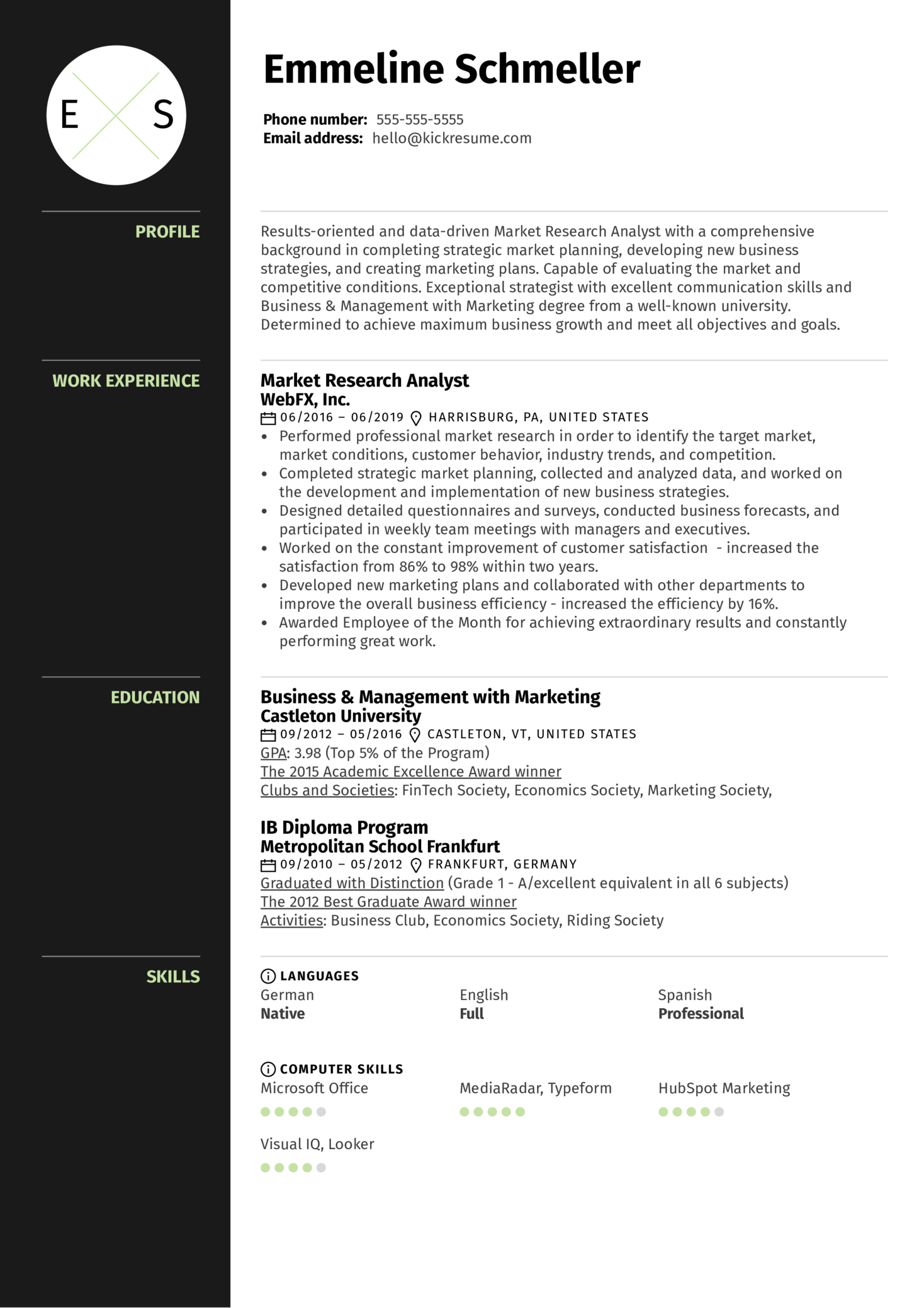Market Research Analyst Resume Example (parte 1)