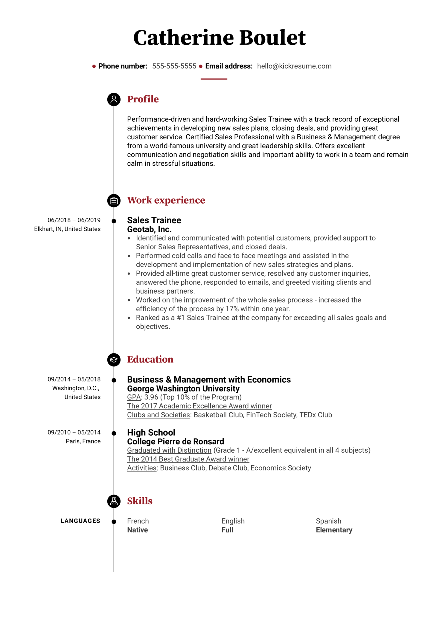 Sales Trainee Resume Example (parte 1)