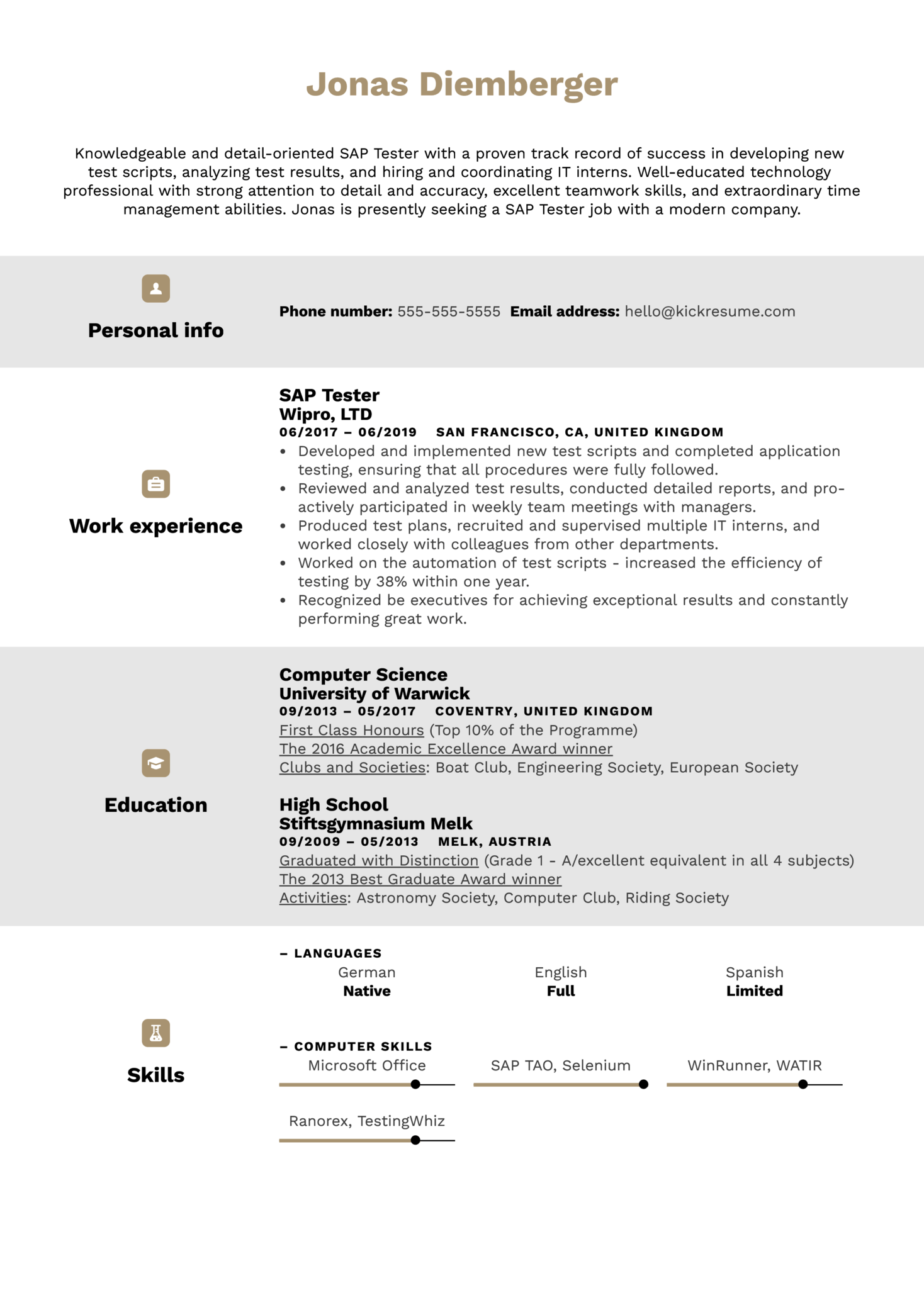 SAP Tester Resume Example (Part 1)