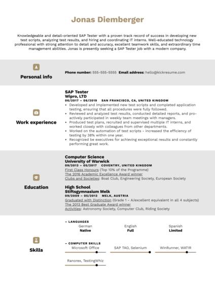 SAP Tester Resume Example