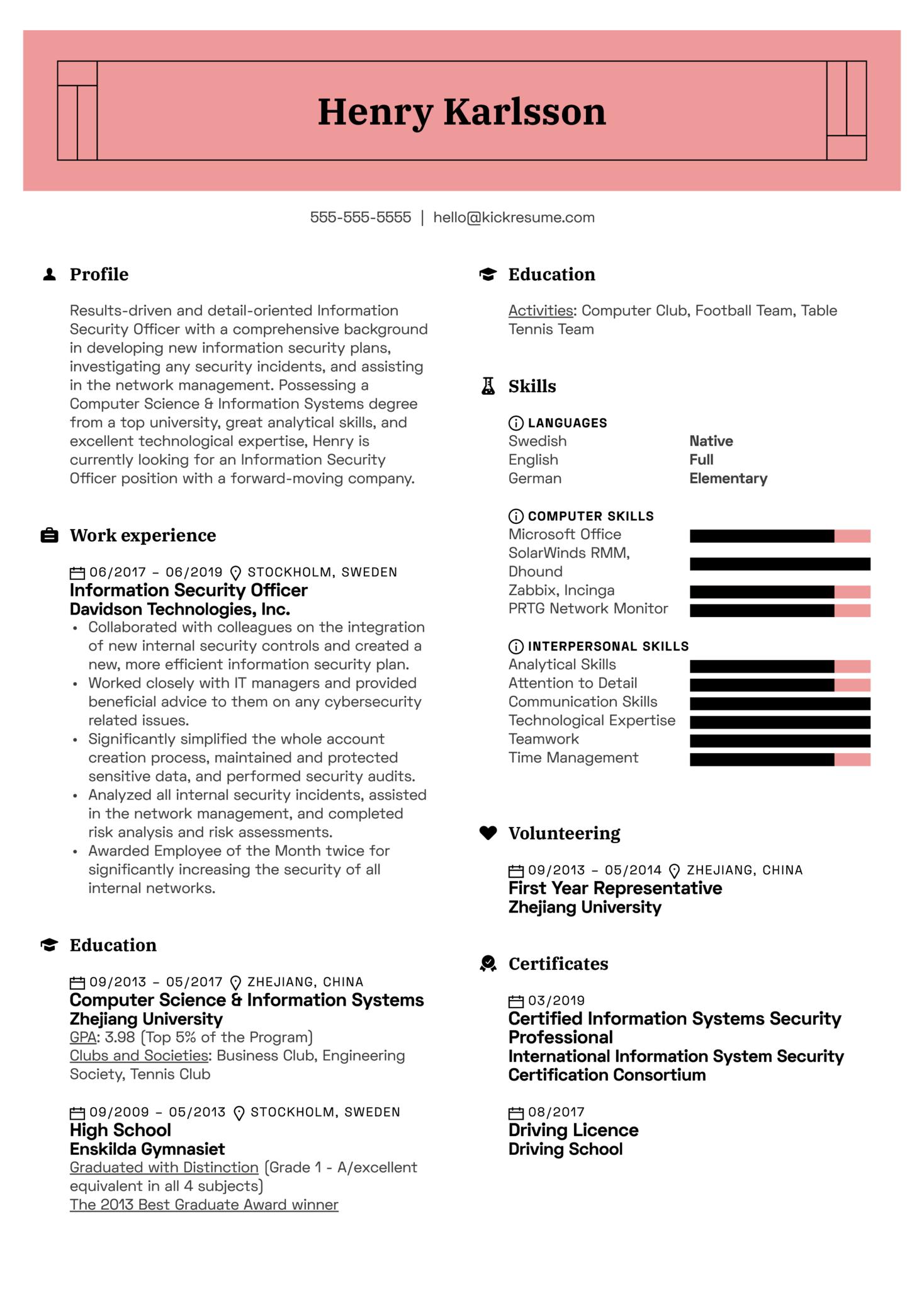 Information Security Officer Resume Sample (Part 1)